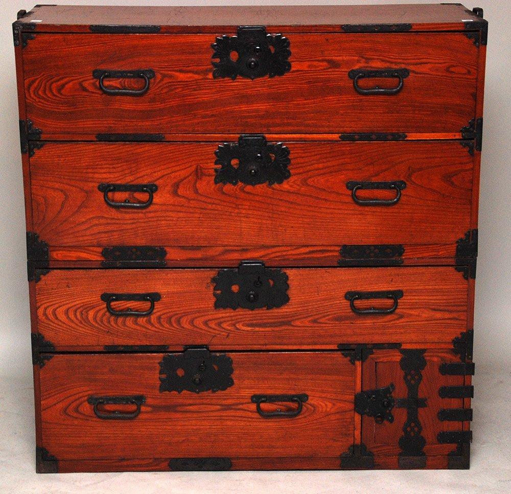 117: Fukushima Kasane Tansu, Keyaki wood, c. 1850-1880,