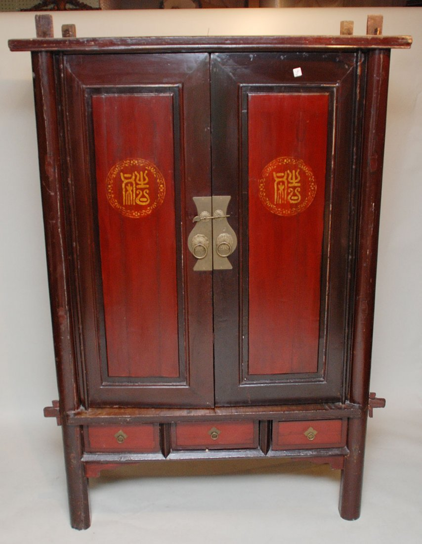 """119: Chinese red lacquered 19th c. cabinet, 82""""h x 51""""w"""