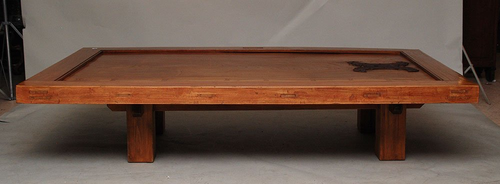 120: Wood coffee table formed from a Japanese door, mou