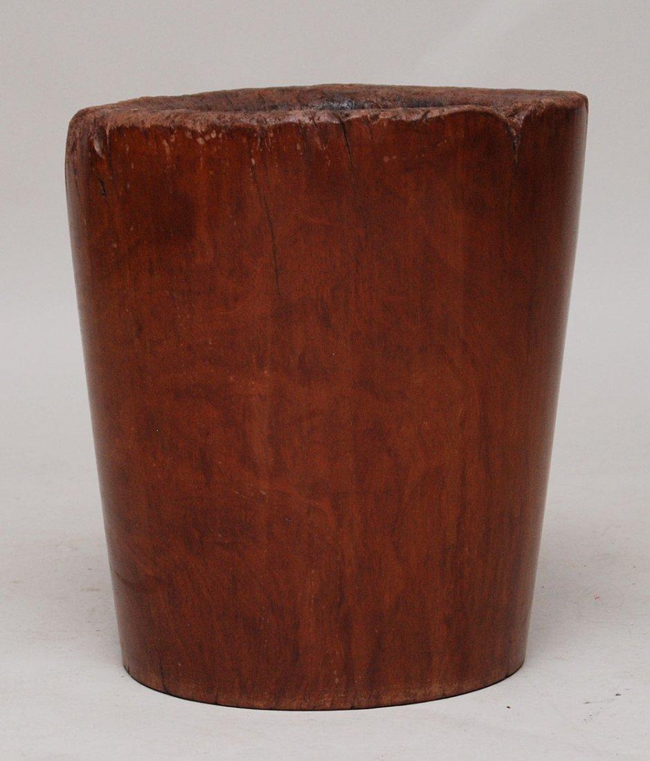 "121: Large Asian wood mortar, 17""h"