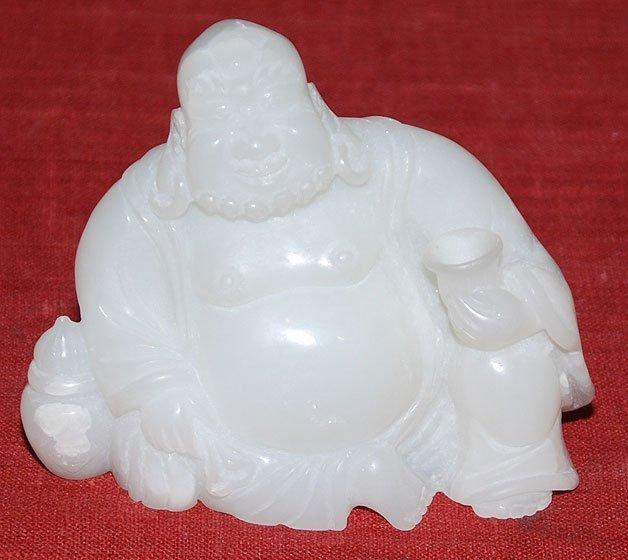 "123A: Chinese jade buddha, 4 3/4""h x 5 1/2""w"