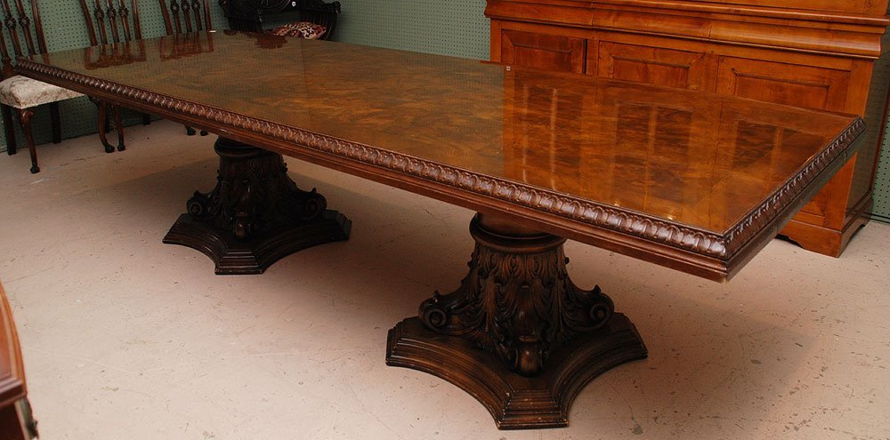 124: Fine dining table, burled wood surface with archit