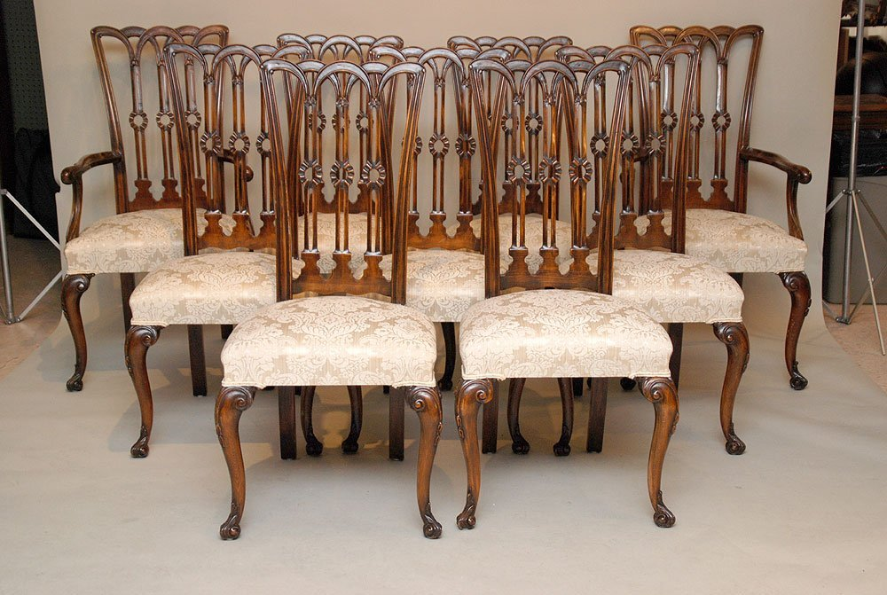 125: Set of 9 dining chairs, mahogany ribbon back with