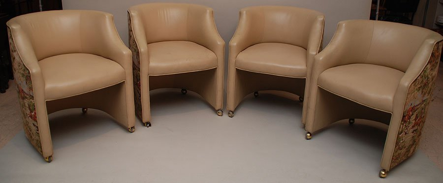 127: Set of 4 club chairs, leather or faux leather with