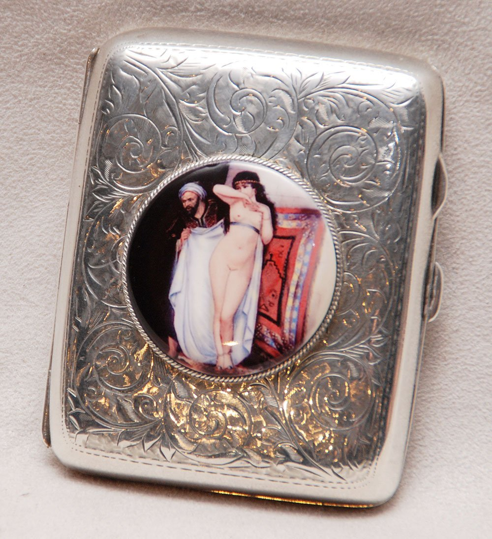 275: English sterling cigarette case with porcelain pai