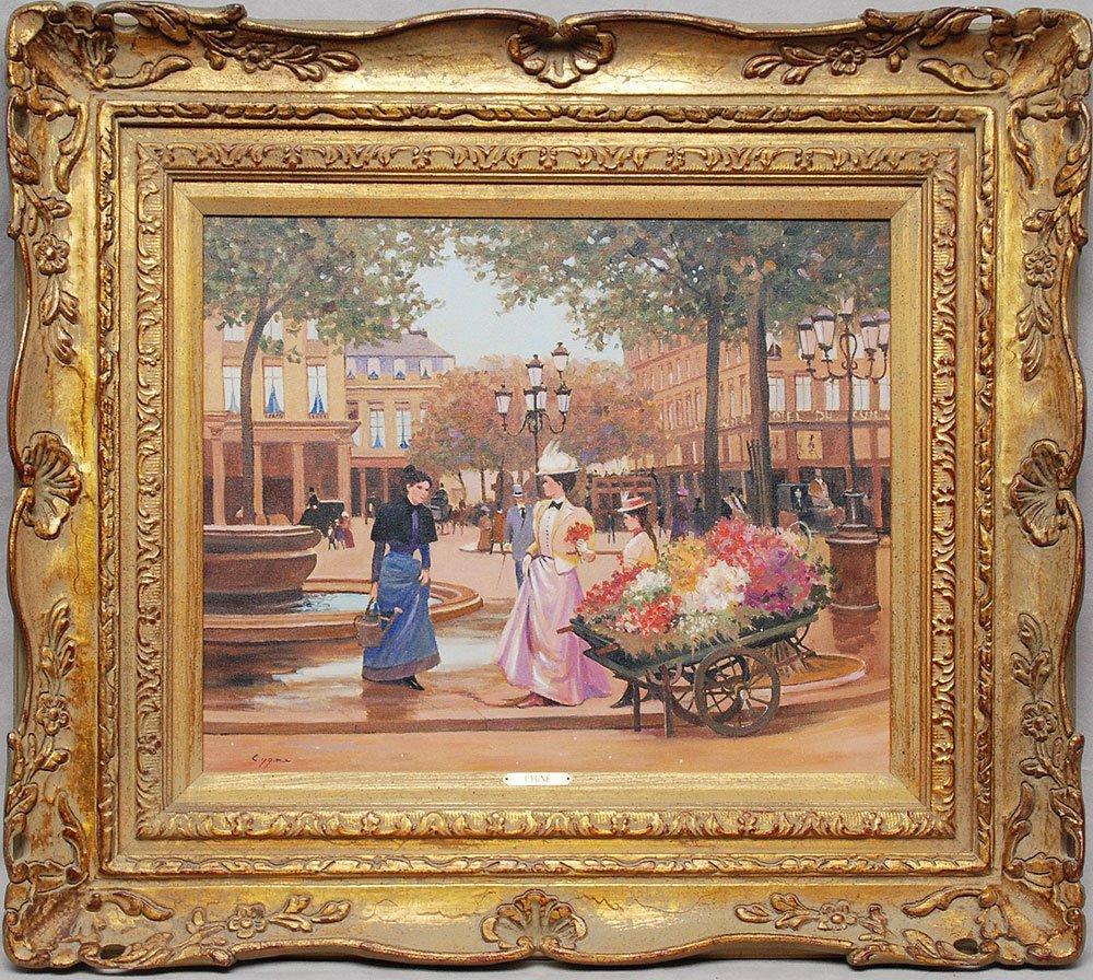 398: Pr. French School oil paintings by E.J. Cygne