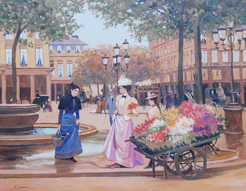 398: Pr. French School oil paintings by E.J. Cygne - 2