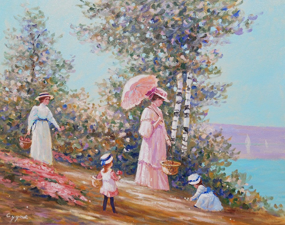 398: Pr. French School oil paintings by E.J. Cygne - 6