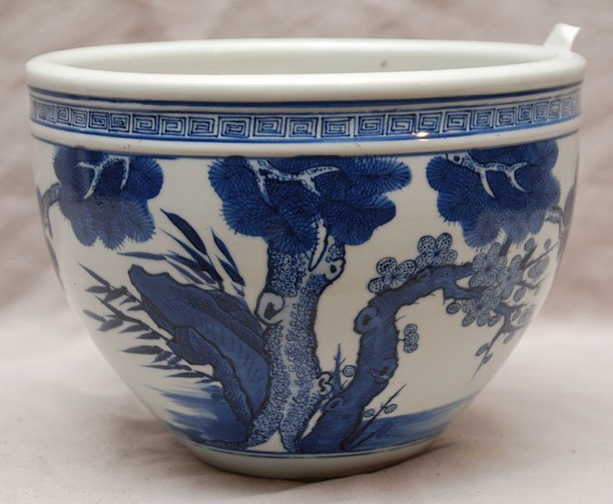 "1: Blue and white oriental bowl, 6 1/2""h x 9""dia"