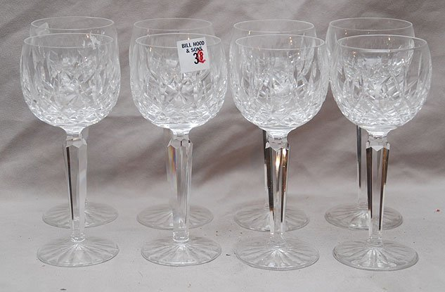 """3: 8 Waterford wine goblets, 7 1/2""""h"""