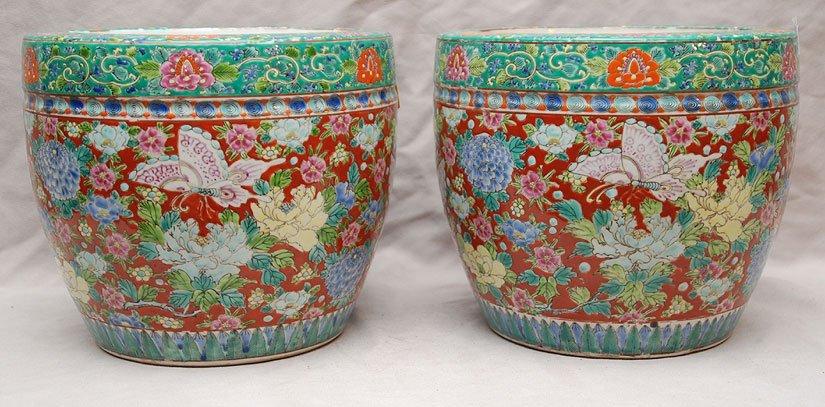 4: Pair of Chinese multi color jardiniers