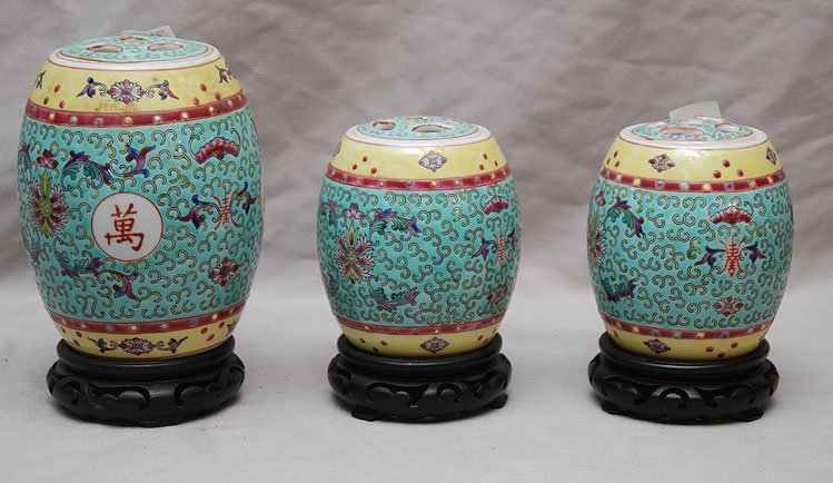 5: 3 Chinese colorful garden seat form jars with lids,