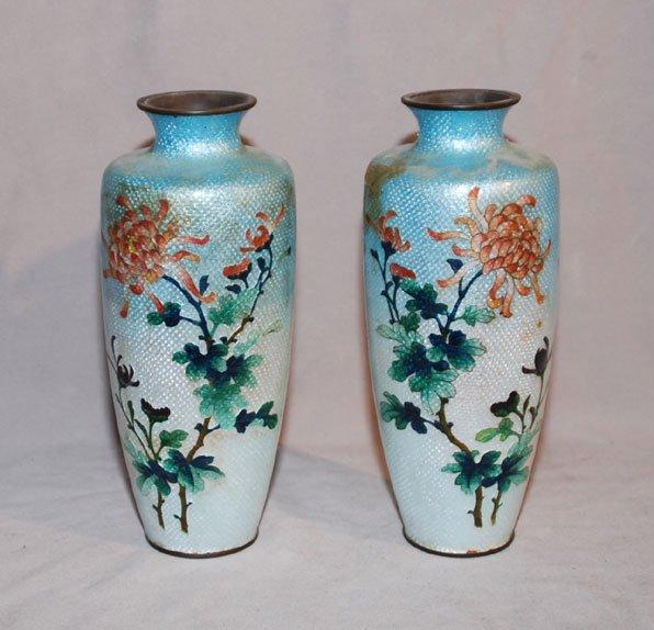 "7: Pair of cloissone Japanese vases, 9 1/2""h"