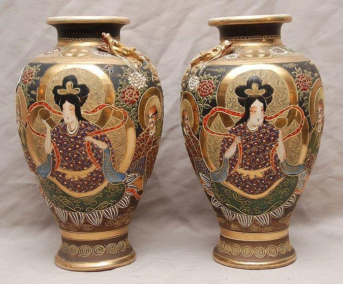"9: Pair Satsuma vases, dragon around neck, 12""h"