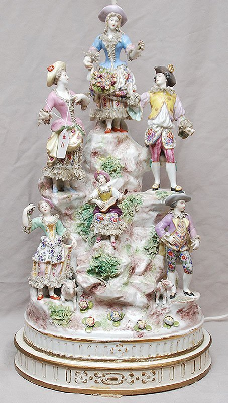 11: German Meissen style large porcelain lamp with grou