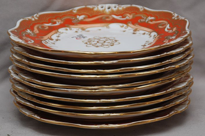 14: 10 early Davenport plates, burnt orange border with