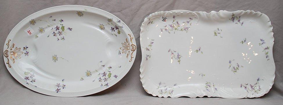 20: 2 hand painted Haviland Limoges platters, violet mo