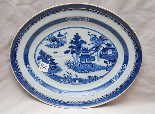 23: Chinese style export platter with monogram on rever