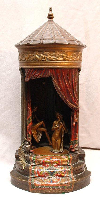 140: Franz Bergman Bronze Orientalist table lamp 17in.