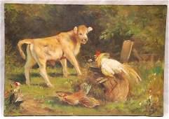 328 Oil on canvas farm scene Charles Jacque