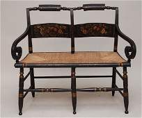 3: 19th c. American Hitchcock style stenciled love seat