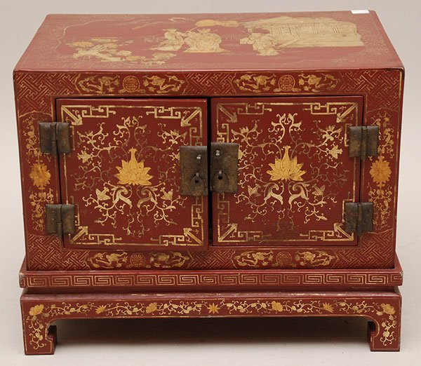7: Decorative 2 pc. Oriental motif chest & stand, red w