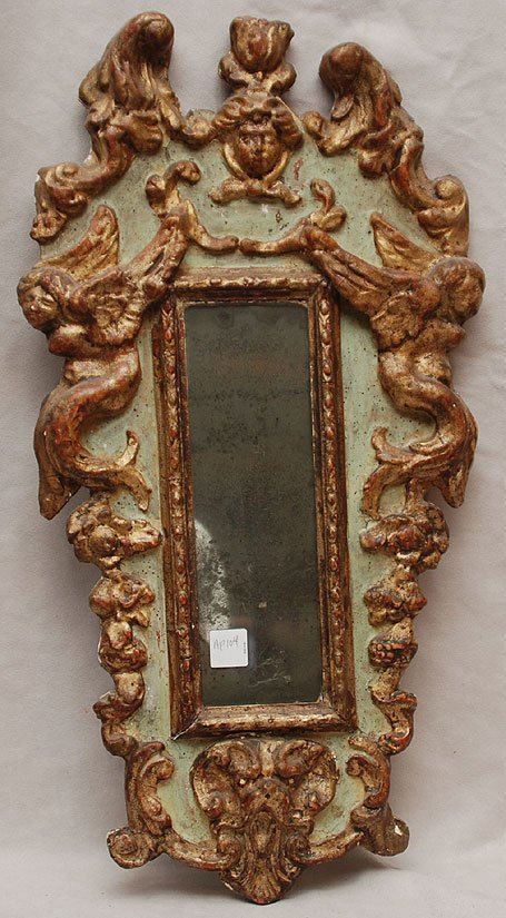 "9: Antique Carved Continental painted mirror, 23""h x 12"