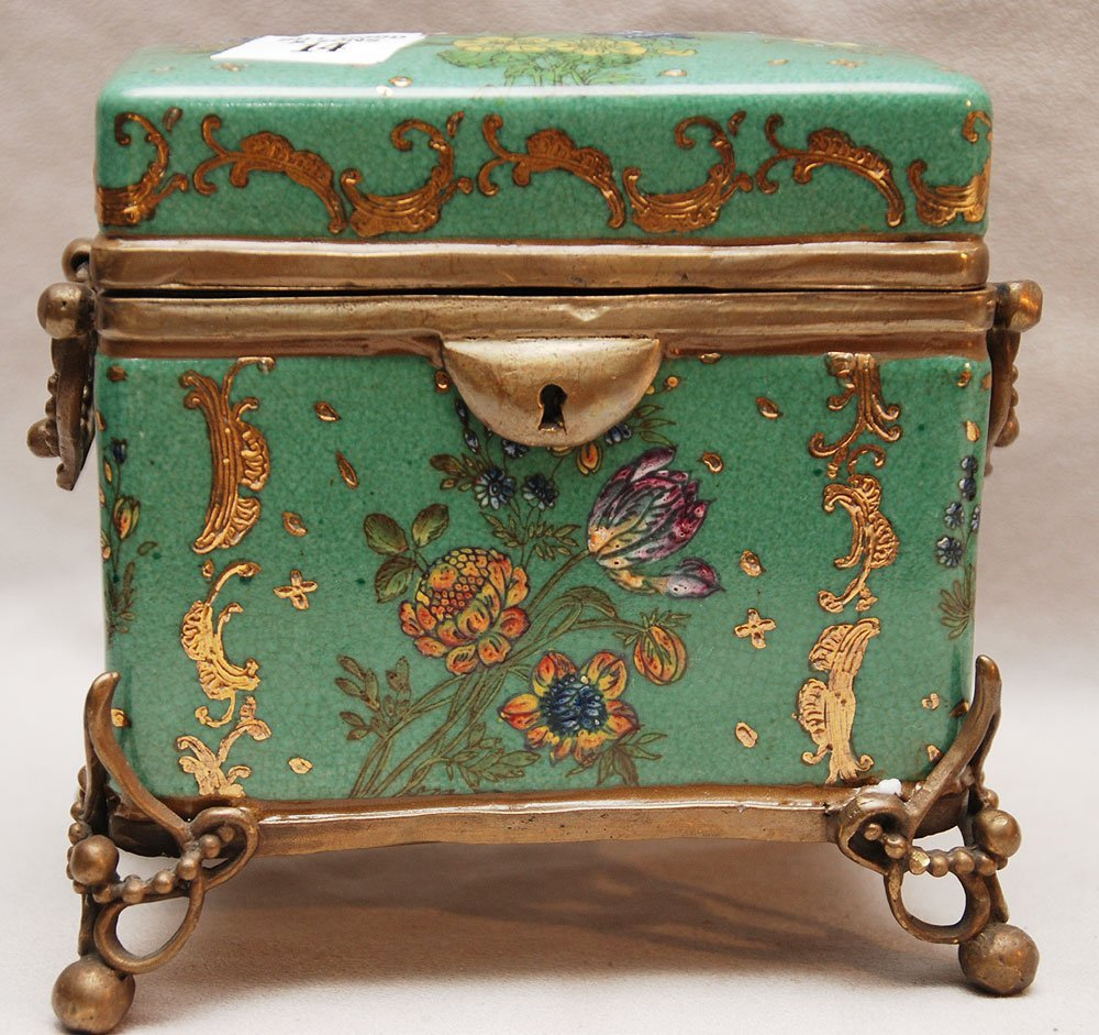 "14: Porcelain hinged box with bronze mounts, 5 1/2""h x"