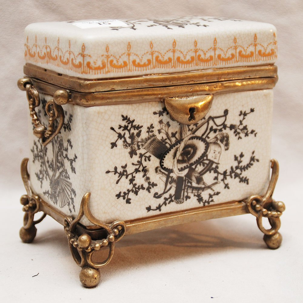"15: Porcelain hinged box with bronze mounts, 5 1/2""h x"
