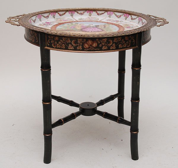 16: Porcelain tray table with bronze handles on wood st