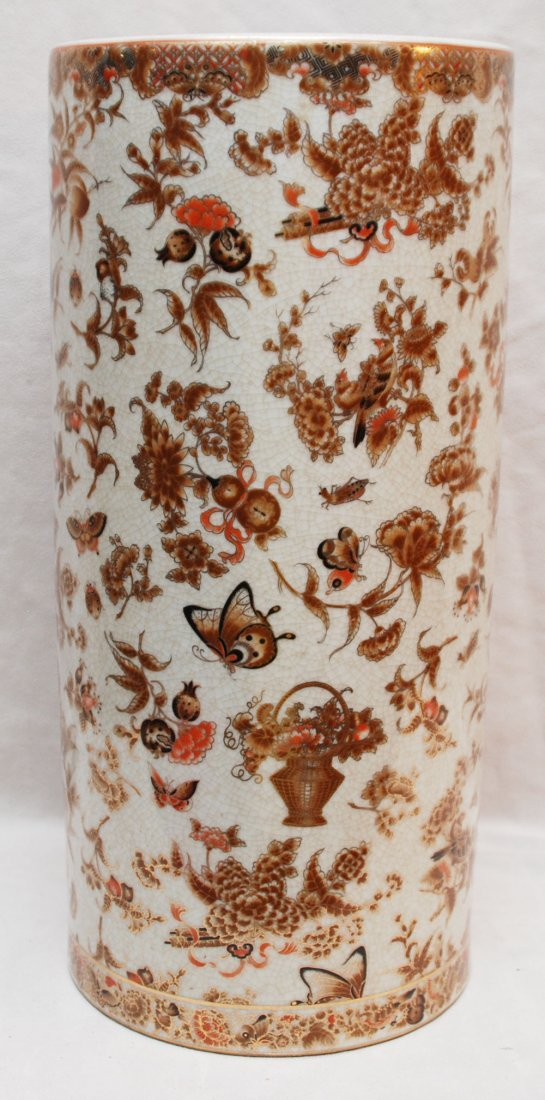 "17: Chinese porcelain umbrella stand, 18""h x 8 1/2""dia"