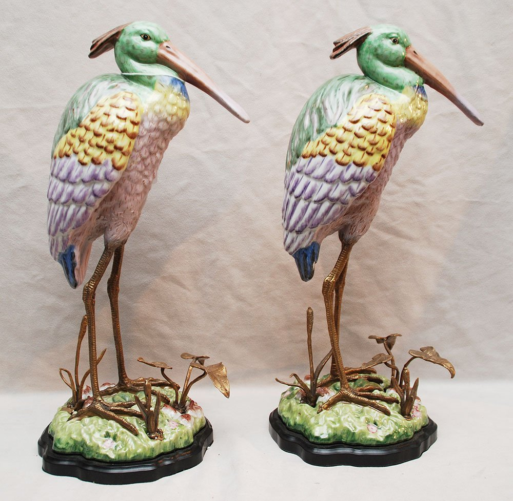 18: Fine pair of porcelain water fowls with bronze legs