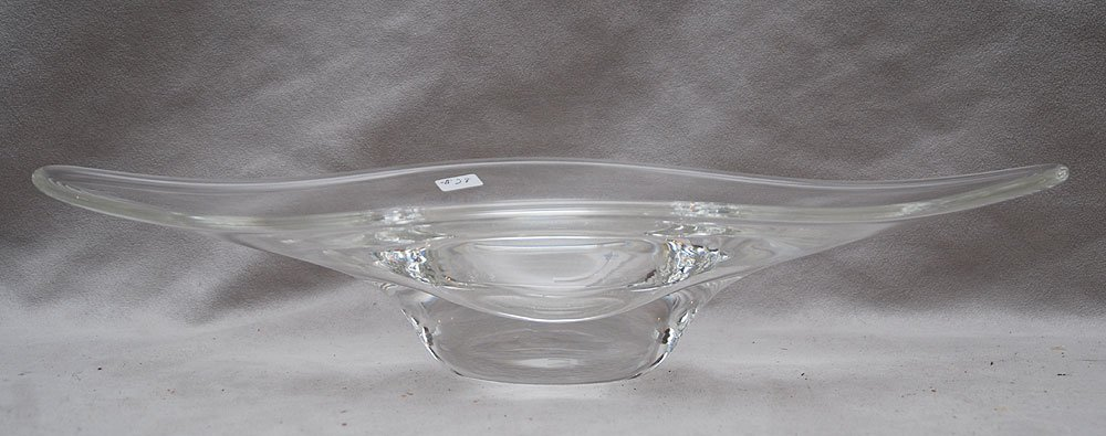 "20: Steuben elongated centerpiece bowl, 3""h x 7""dia"