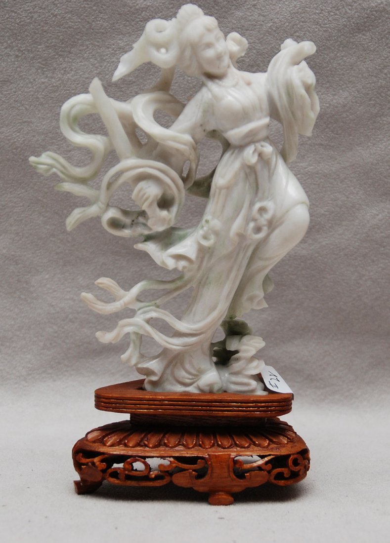 "23: White jade Quan Yin on attached stand, 5 1/4""h (fig"