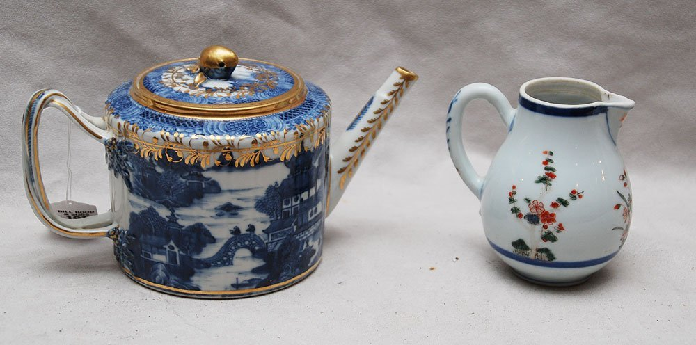 191: 2 antique Chinese pieces 1 teapot blue with gilt t