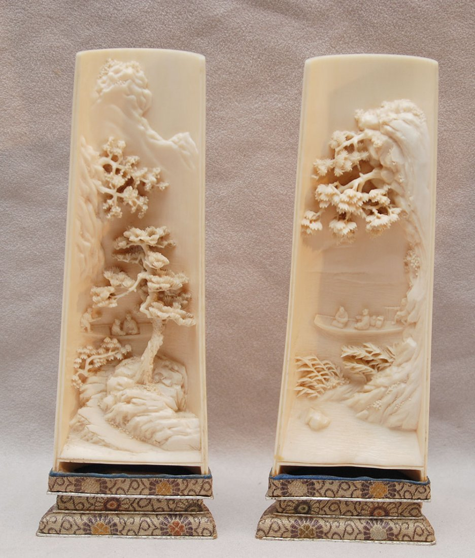 228: Pr. Chinese carved ivory wrist rests depicting lan