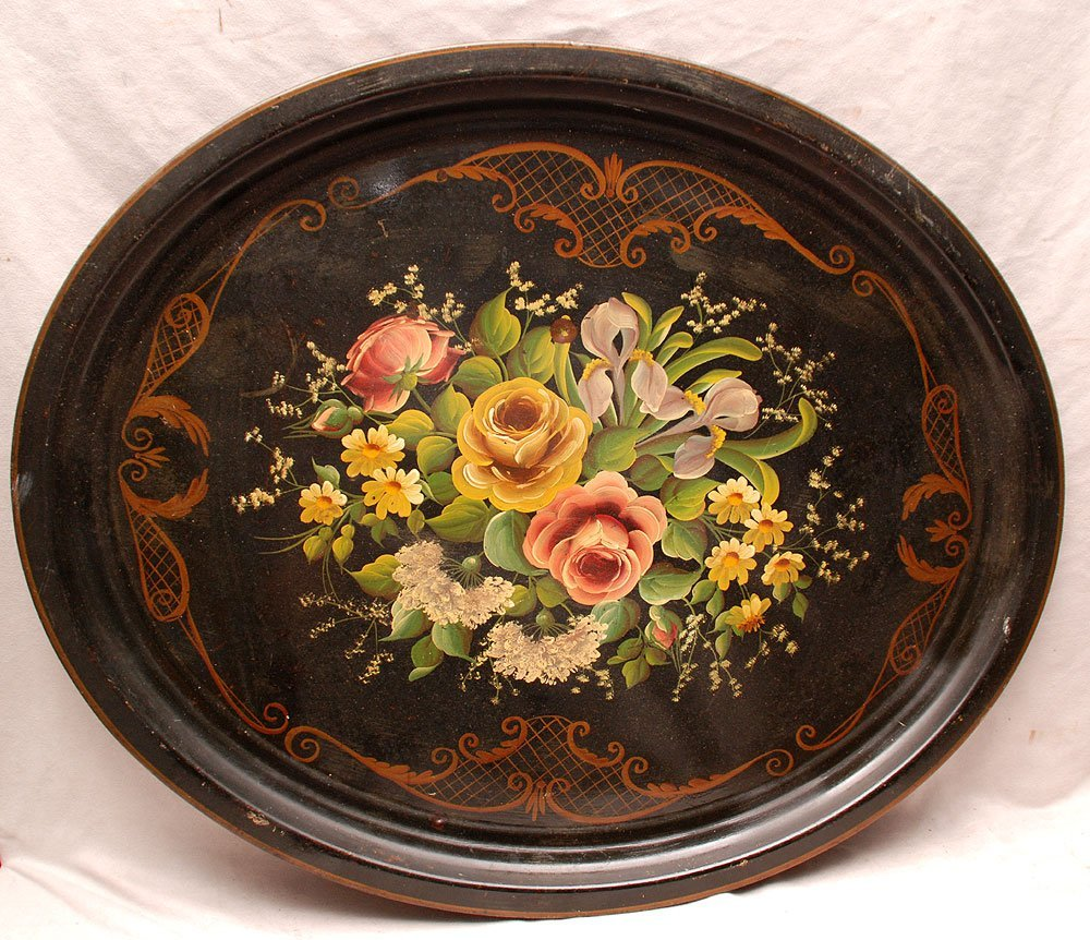 1: 2 mid century tole trays, incl; oval black hand pain