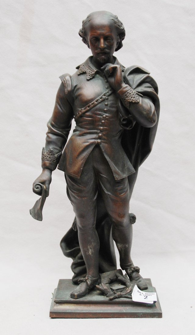 "2: Old Bronze explorer sculpture, 12""h"