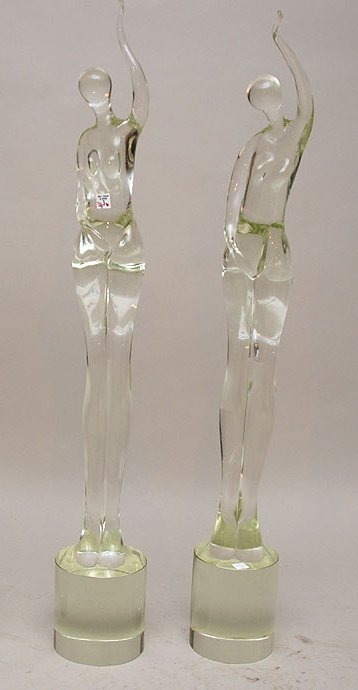 "3: 2 murano glass tall figural sculptures, on 6"" matchi"