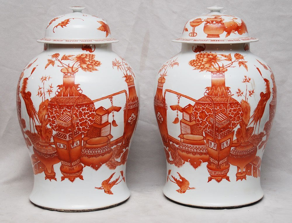 6: Pair of covered Chinese ginger jars, late 19th c, ir