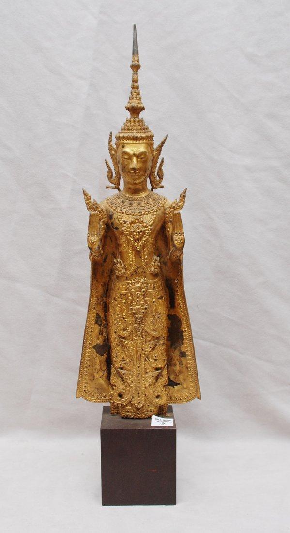 9: Gilt metal oriental goddess, 19th c,  square attache