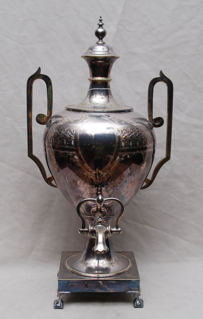 15: Hot water urn, silver plate with engraved decoratio