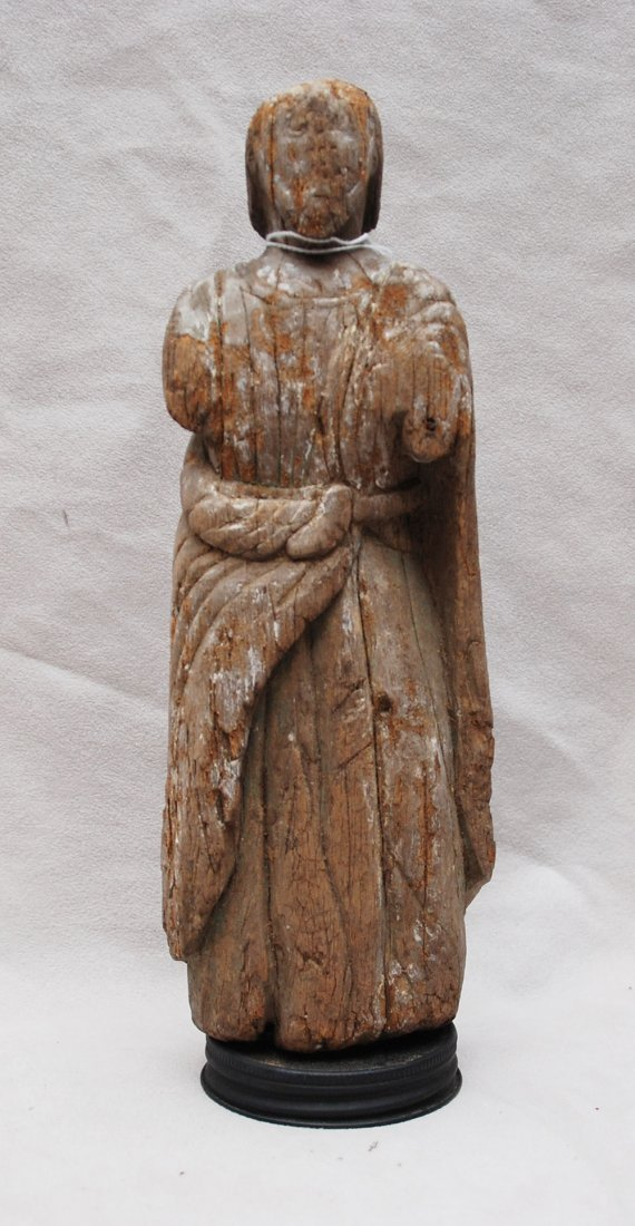 16: Primitive wood carving, Saint with robe, 18th c, 10