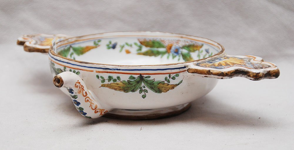 "17: Faience bowl with handles & spout, 2""h x 10""w (inva"