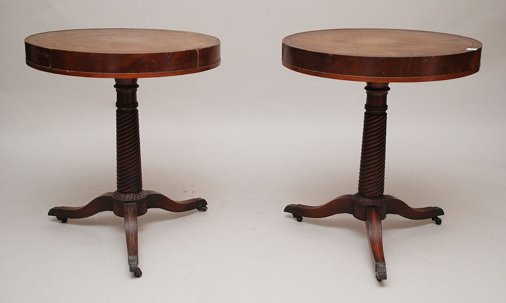 20: Pair mahogany round end tables with spiral pedestal