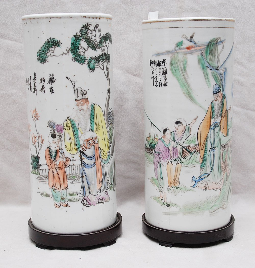 23: Pair of early Chinese porcelain cylindrical vases,