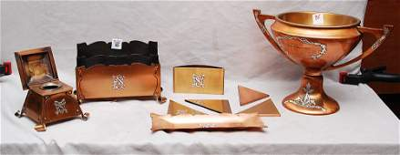 85 9 pcs Art Nouveau copper desk set incl letter ho