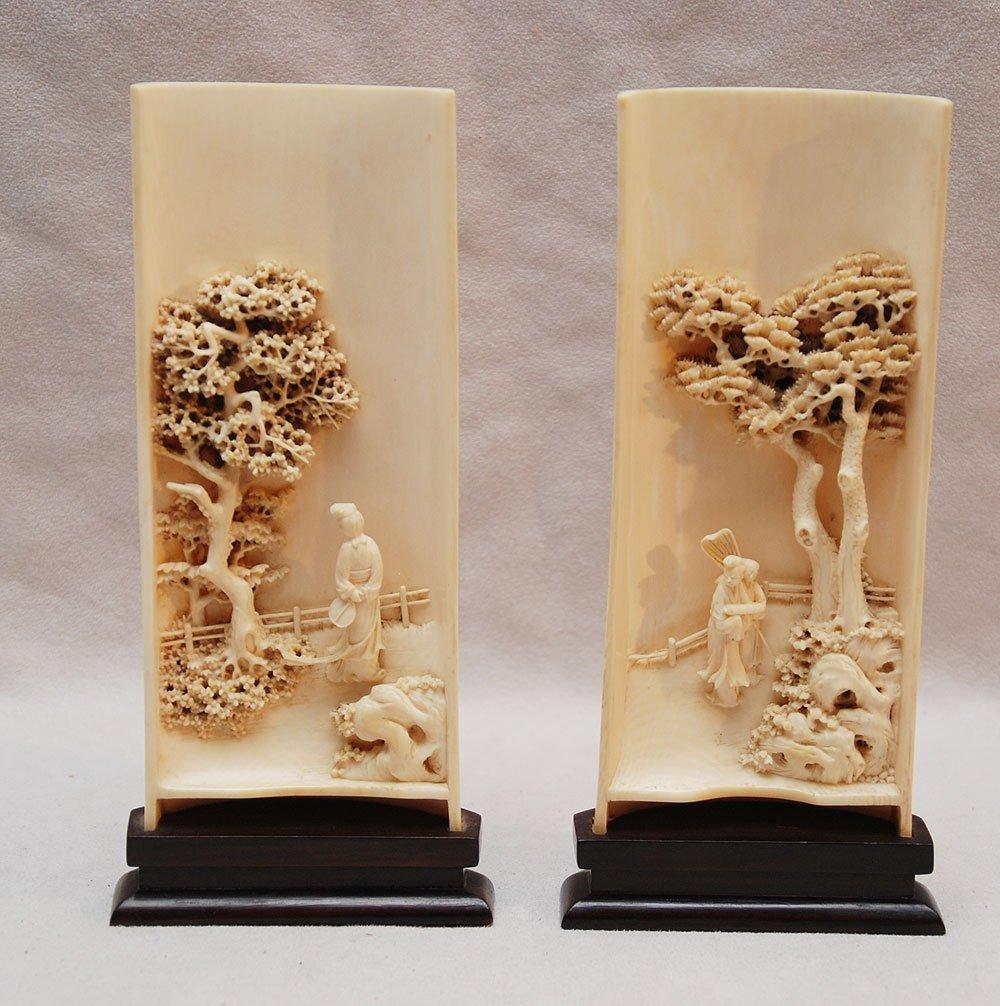 217: Pr. Chinese vintage carved ivory wrist rests depic