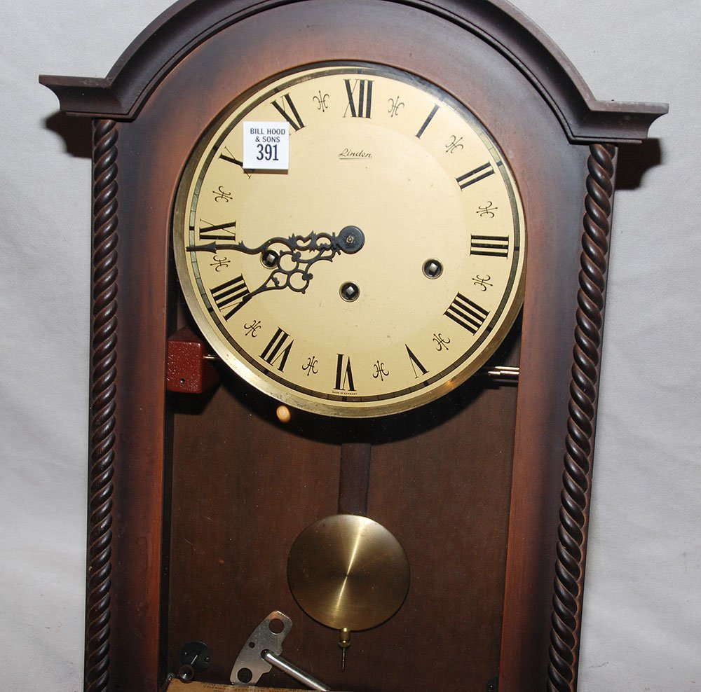 "391: Linden wood wall clock, Westminster chimes, 18""h - 2"
