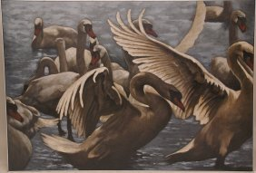 4: Large 20th C. Swans Painting oil on canvas signed